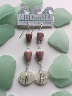 Silver plated Hawaiian Seaglass and Cone shell by GirllovesSea