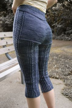 Cozy cabled leggings with encased elastic waistband worked top-down seamlessly. When substituting yarn, choose one that is springy, soft, and machine-washable. Crochet Pants, Knit Pants, Crochet Clothes, Knit Crochet, Knit Leggings, Knit Shorts, Yoga Pants, Blue Moon Fiber Arts, Mode Crochet