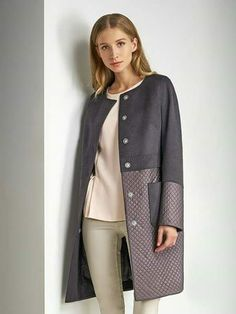 Two-toned coat pink top and beige pants