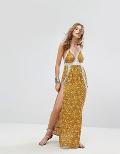 Get this Kiss The Sky's cotton dress now! Click for more details. Worldwide shipping. Kiss The Sky Cami Maxi Dress With Lace Ladder Inserts In Vintage Floral - Yellow: Maxi dress by Kiss The Sky, Printed woven fabric, Plunge neck, Lace trims, Leg splits, Cross-over back straps, Regular fit - true to size, Hand wash, 100% Rayon, Our model wears a UK S/EU S/US XS and is 176cm/5'9.5 tall. Easy-wear pieces with boho prints and super-soft fabrics make up Kiss The Sky�s festival-ready…