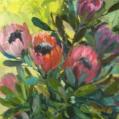Protea Light by Landscape artist Jenny Parsons Flower Bouquet Drawing, Flower Art, Protea Art, Landscape Arquitecture, Pretty Drawings, Painting Prints, Floral Paintings, Beautiful Paintings, Art Tutorials