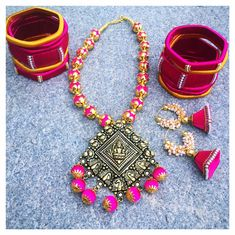 Beautiful pink and gold silk thread necklace with lakshmi devi pendent. Simple pink color silk thread jumkhis with gutta pusalu and silk thread bangle. 19 May 2017