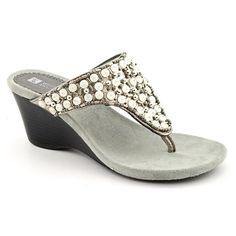 White Mountain Niche Womens US Size 9.5 Gray Open Toe Wedges Heels Shoes