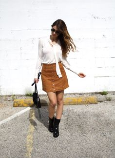 Camel suede a-line skirt, cream tie sweater and ankle boots. In love! #skirt #ontheblog #fallfashion