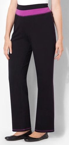CATHERINES COLOR WAISTBAND YOGA PANT - BLACK & VIOLET - PLUS SIZE 5X (34/36W) #Catherines #CasualPants