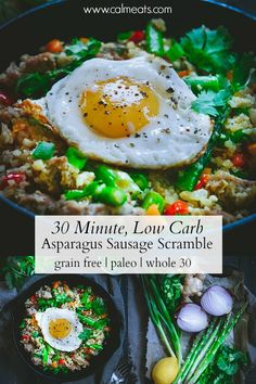 A 30 minute recipe that can make for a simple breakfast, lunch or dinner. A delicious combination of asparagus, red onion, sausage and cauliflower rice are tossed together with ginger and coconut aminos to create this speedy dish. It's low carb, paleo, gluten free and whole 30 too. #paleodinner #30minuterecipes #whole30dinner #glutenfreedinner #quickmeals #glutenfree #dairyfree #whole30 #calmeats #paleo #realfoodrecipes #cleaneatingrecipes #speedydinner