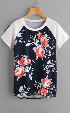 Floral Print Raglan Sleeve Dip Hem Tee Need this with jeans, sneakers, and ball cap for casual summer! Look Fashion, Fashion Clothes, Fashion Outfits, Fashion Black, Fashion Ideas, Casual Outfits, Cute Outfits, Sewing Blouses, Tweed Dress