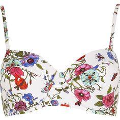 White floral print bustier bikini top $32.00