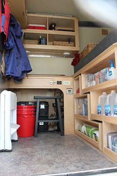 Stair Step Shelves Mounted On A Piano Hinge Allow Swing Out Access To Overhead Bed Area Mods Find This Pin And More Horse Trailer Conversion