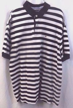 Tommy Hilfiger Polo Shirt Men Size XXL Black White Striped 100% Cotton #TommyHilfiger #PoloRugby