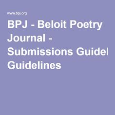 BPJ - Beloit Poetry Journal - Submissions Guidelines