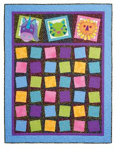 """""""Zany Zoo Quilt"""" from Colorful Quilts for Playful Kids by Janet Pittman. Use quilting designer Janet Pittman's darling animal templates for sewing quick and easy applique quilts for the small animal lovers in your life! Find it online: http://landauerpub.com/Colorful-Quilts-for-Playful-Kids.html"""