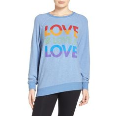 Women's Junk Food Love Sweatshirt ($75) ❤ liked on Polyvore featuring tops, hoodies, sweatshirts and indigo