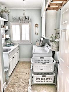 Small Laundry Rooms, Laundry Room Organization, Laundry Room Design, Organized Laundry Rooms, Laundry Room With Storage, Laundry Decor, Laundry Basket, Storage Organization, Small Bathroom