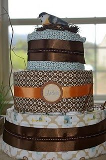Diaper cake along with some great baby shower ideas