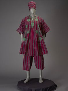 Man's formal ensemble (Gbariye), Yoruba peoples, Africa, 1980's.