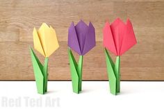 Easy Paper Tulip - these make a wonderful introduction to Origami for Kids. Perfect for Spring Crafting and Mother's Day Cards as well as Spring Collages.