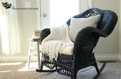 Wicker Rocking Chair Redo by The Wood Grain Cottage