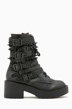 Totally awesome black leather combat boots featuring stud and spike detailing over multi strap closures at front.