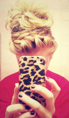 messy braid and bun. #hair #bun #braid