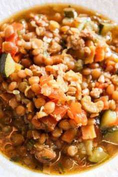 Lentil and Italian Sausage Soup- throw the ingredients in the crock pot and you'll have this delicious soup made with lots of veggies. And it's gluten free!