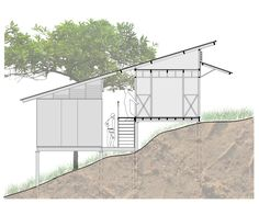 Architectural System for Rural Social Interest Housing,Prototype E1 Section