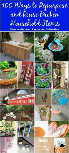 100 Ways to Repurpose and Reuse Broken Household Items. These are great ways to repurpose old household items for home decor and furniture! Try making your own diy crafts from old broken household items! Upcycled Crafts, Recycled Decor, Repurposed Items, Repurposed Furniture, Diy Furniture, Diy And Crafts, Recycled Tires, Automotive Furniture, Automotive Decor