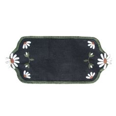 """Daisy Off Mat - Our hand stitched daisy mat is all wool materials. Size 24"""" x 11"""" wide."""