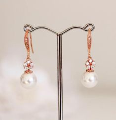 Rose Gold Bridal Earrings, Pearl Drop Earrings, #bridalearrings #bridesmaidearrings #rosegoldearrings #weddingearrings #pearlearrings #springwedding #rosegoldwedding #weddingjewelry #pearldropearrings #forbridesmaids #bridesmaidsgifts #pearljewerly #flowerearrings