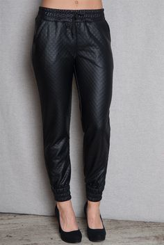 Quilted Faux Leather Jogger Pants - Black from Sneak Peak Jeans at Lucky 21