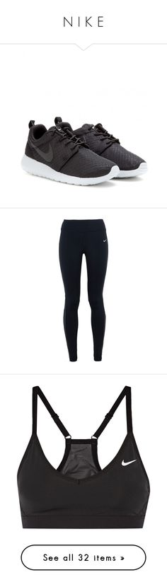 """N I K E"" by hayleyannn ❤ liked on Polyvore featuring shoes, sneakers, nike, trainers, black, kohl shoes, black trainers, black shoes, nike footwear and pants"