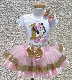 Baby Minnie Pink and Gold Satin Ribbon by LolliposhBoutique