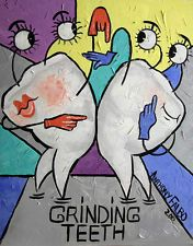 GRINDING TEETH PRINT DENTAL COLLECTABLE ART TOOTH DENTIST ANTHONY FALBO