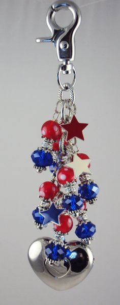 Good Ole Red, White & Blue purse light by Diva Dangles at www.divadangles.com