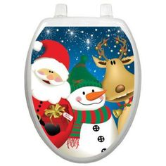 Christmas toilet lid decal - Santa and friends