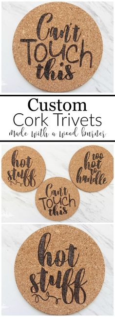 Custom Cork Trivets are so easy to make with a stencil and a woodburning tool. Plus they make a great gift!
