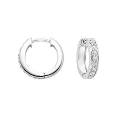 18K White Gold Luxe Diamond Huggie Earrings (1/2 ct. tw.), top view
