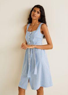 211ff6b9 Strukturert kjole i bomullsblanding - Damer