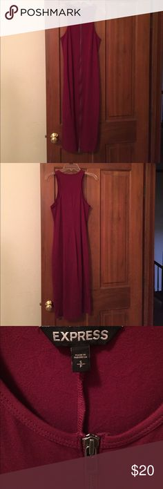 Express Bodycon Midi Dress Maroon colored, bodycon (stretch) midi length dress. Zips all the way up in the front. Size S from Express. Worn twice. Express Dresses Midi