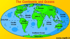 map of 7 continents and 5 oceans | Digital computer graphics map of seven continents and the oceans too.