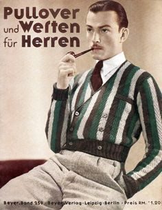 Knitwear men, Vintage mens fashion, Vintage fashion Mens fashion inspiration, Mens fashion illustration, knitwear - The Aristocratic Nose and the Vulgar Heart - Vintage Fashion 1950s, 1930s Fashion, Vintage Mode, Mens Fashion, Victorian Fashion, Vintage Style, Mode Masculine, German Outfit, German Men