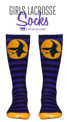 Our Lax Witch socks make a fun Halloween gift for lacrosse girls and teams! They're great for playing in lacrosse games and tournaments or just hanging around! LuLaLax.com