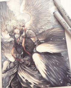 Copic commission of Lucifer from Shingeki no Bahamut ( Anime Angel, Anime Demon, Manga Anime, Anime Guys, Shingeki No Bahamut Genesis, Copic Drawings, Bird People, Fanart, Angels And Demons