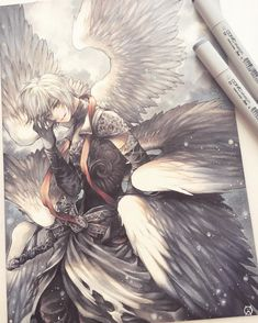 A4 Copic commission of Lucifer from Shingeki no Bahamut (ʶ ˡ ʶ) Aka the most mentally draining piece I've ever worked on lol. Not 100% happy with the result but oh well ;w; . Side topic but would anyone be interested if I moved all art materials related stuff to a new separate account? It'll be easier to find plus no hijacking of hashtags lol. Maybe I'll also put product reviews and introduce some cool finds from time to time :3 by minmonsta