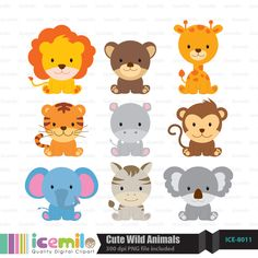 Cute Wild Animals Digital Clipart by IcemiloClipart on Etsy