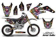 Honda CRF150R Motocross (2007-2011) - Ed Hardy Love Kills Slowly - Black MX Dirt Bike Graphic Kit - In Stock Now - Red Line Superstore