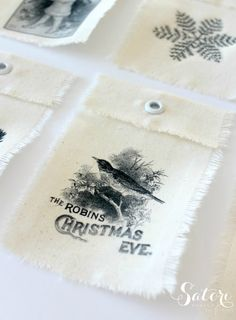 DIY Vintage Christmas Gift Tags- made with cotton canvas and iron on transfer printables - this is outstandingly gorgeous AND easy!