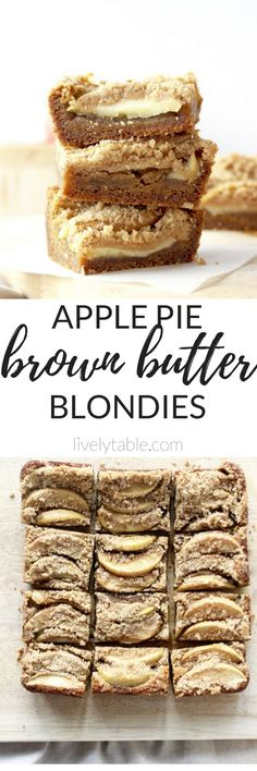 Apple Pie Brown Butter Blondies contain all of the delicious flavors of apple pie baked into a decadent, whole wheat brown butter blondie without rolling out pie crusts! | via livelytable.com