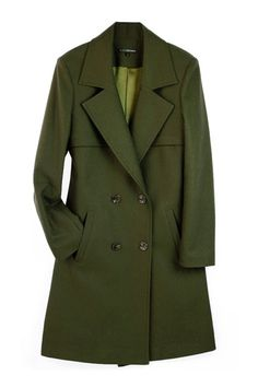 Double Breasted Army Green Coat $137.00
