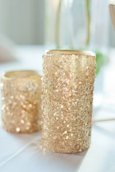 Rustic Glam Wedding Details: Sequins & Candles